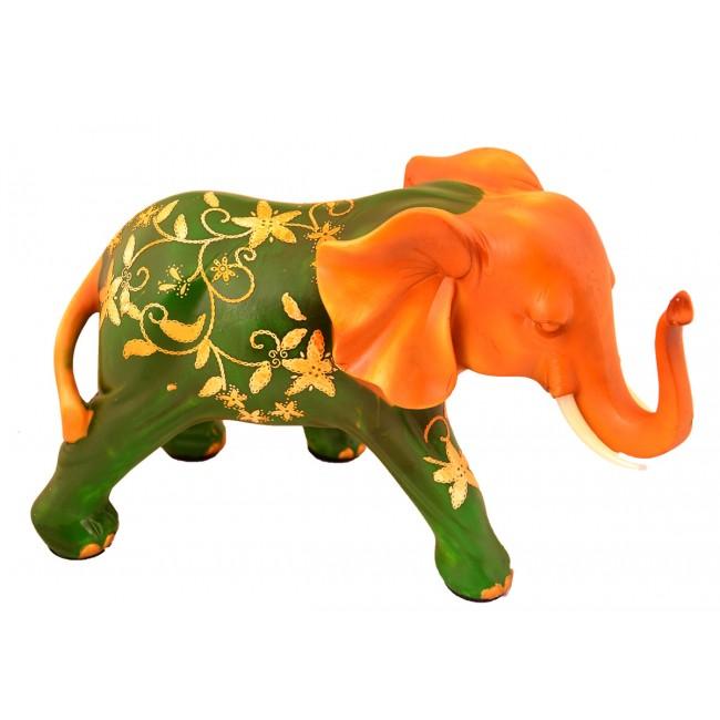 Pysco py8912 Polyester Dekoratif İkili Yeşil Kırmızı Taşlı Fil
