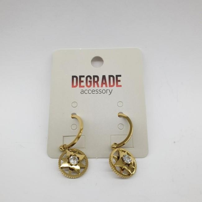 Degrade 1040 Altın Renk Taşlı Çelik Küpe